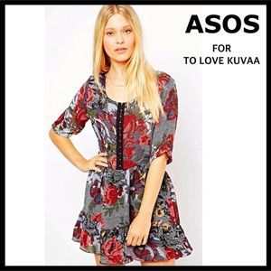 ASOS FLORAL PRINT 3/4 LONG SLEEVE MINI DRESS